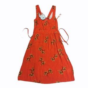 New orange  floral Summer spaghetti dress
